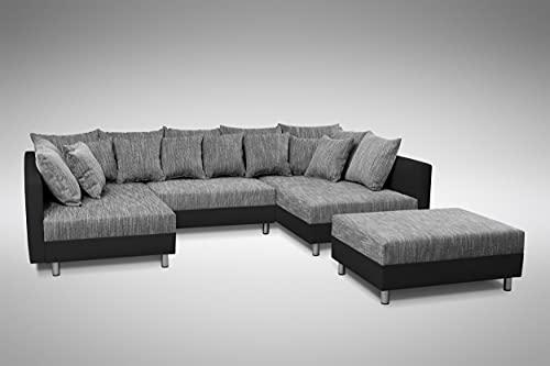 Küchen-Preisbombe Sofa Couch Ecksofa Eckcouch in schwarz/hellgrau Eckcouch mit...