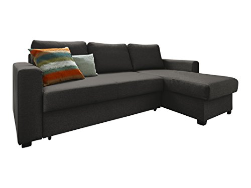 Atlantic Home Collection DUBLIN Schlafsofa mit Bettkasten, Polyester, Anthrazit,...
