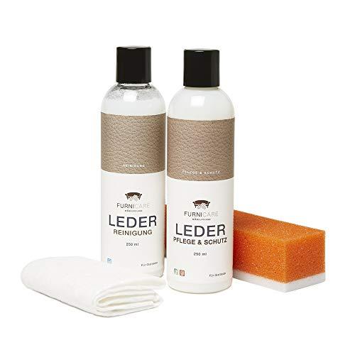 4-teiliges Lederpflege-Set Glattleder 250ml von Furnicare zum Schutz von Sofas,...