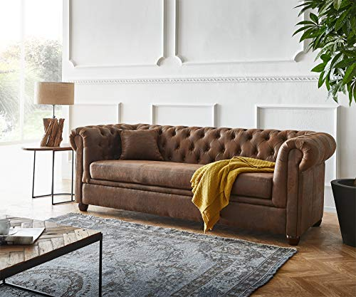 DELIFE Couch Chesterfield Braun 200x88...
