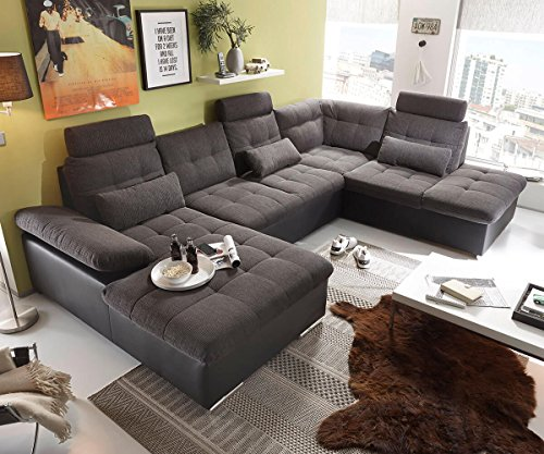 DELIFE Couch Jerrica Grau Schwarz...