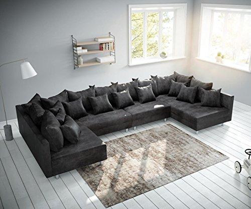DELIFE Couch Clovis XL Anthrazit Antik...