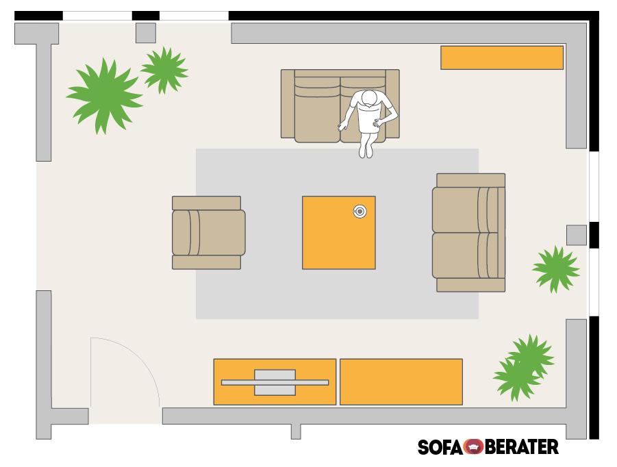 So platzierst du dein Sofa: 2-Sitzer-2-Sitzer-und-Sessel