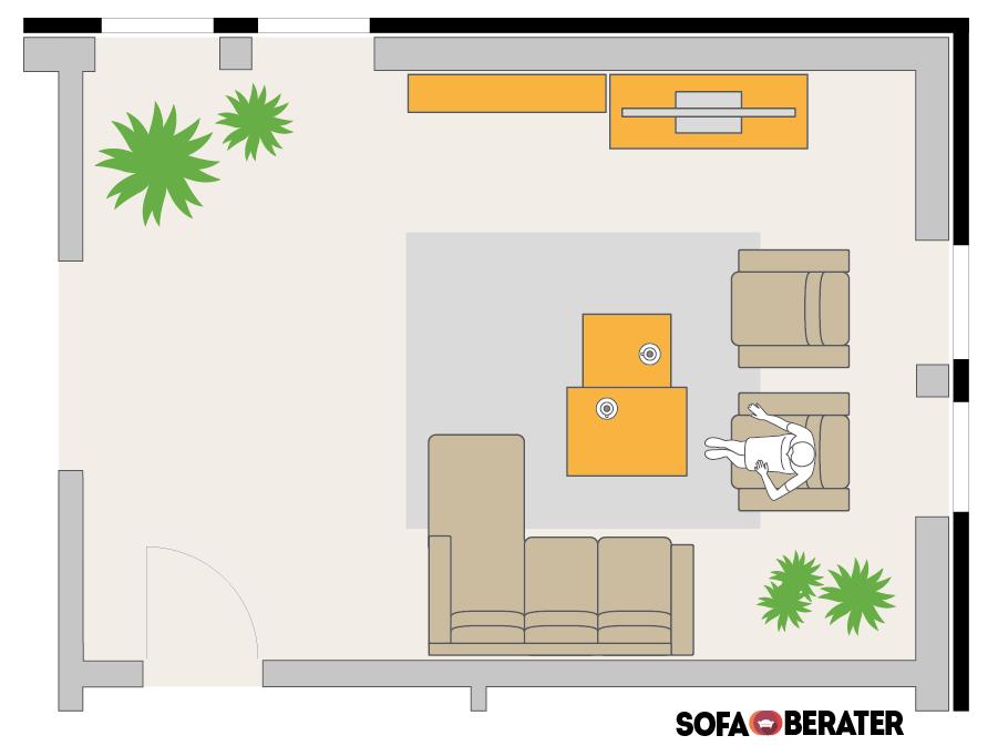 So platzierst du dein Sofa: Polsterecke-mit-Longchair-und-freistehenden-Sesseln